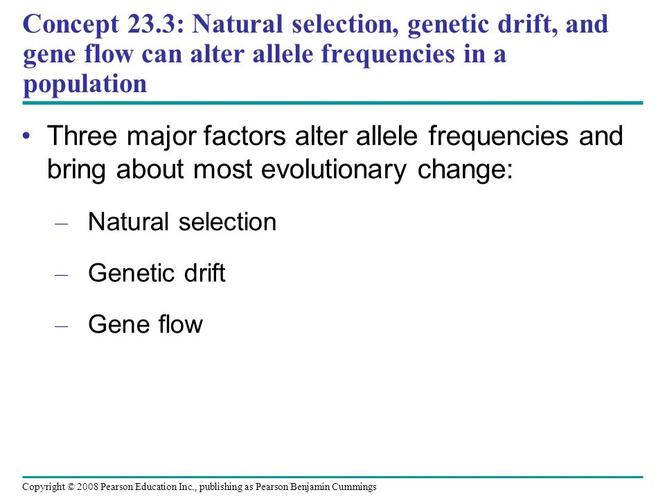 Copyright © 2008 Pearson Education Inc., publishing as Pearson Benjamin Cummings Three major factors alter allele frequencies and bring about most evolutionary change: – Natural selection – Genetic drift – Gene flow Concept 23.3: Natural selection, genetic drift, and gene flow can alter allele frequencies in a population