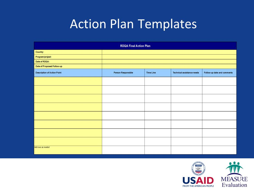 Measure evaluation session 7 developing action plans based on 10 action plan templates pronofoot35fo Choice Image