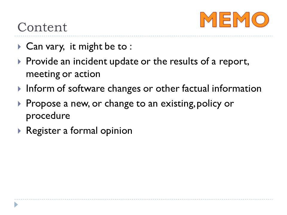 Memos Bowker, Comm 390. Purpose Of A Memo  For Distributing