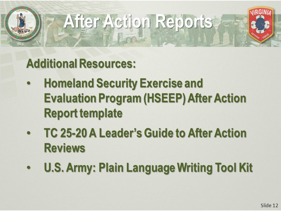 Slide 1 After Action Reports Professional Military Education Basic