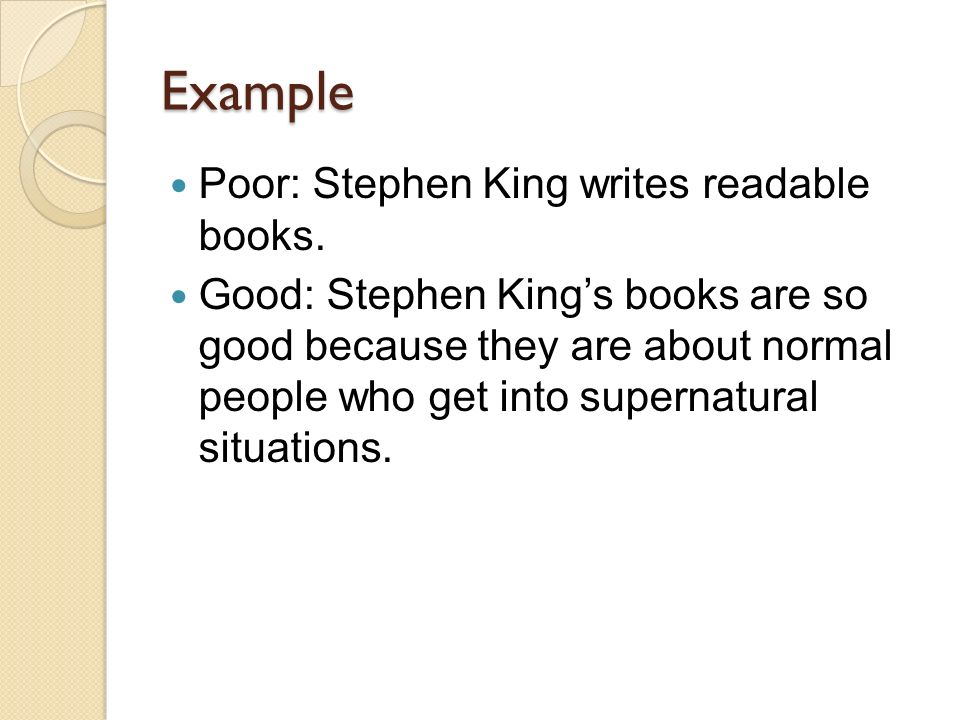 Help writing a thesis statement for a Stephen King research paper!!?