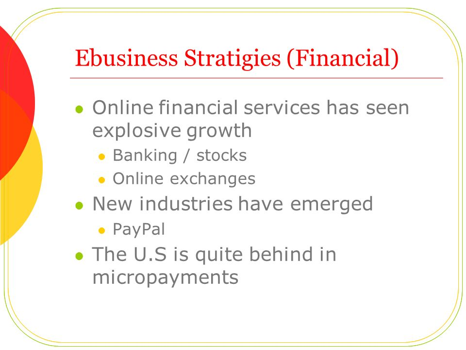 Ebusiness Stratigies (Financial) Online financial services has seen explosive growth Banking / stocks Online exchanges New industries have emerged PayPal The U.S is quite behind in micropayments