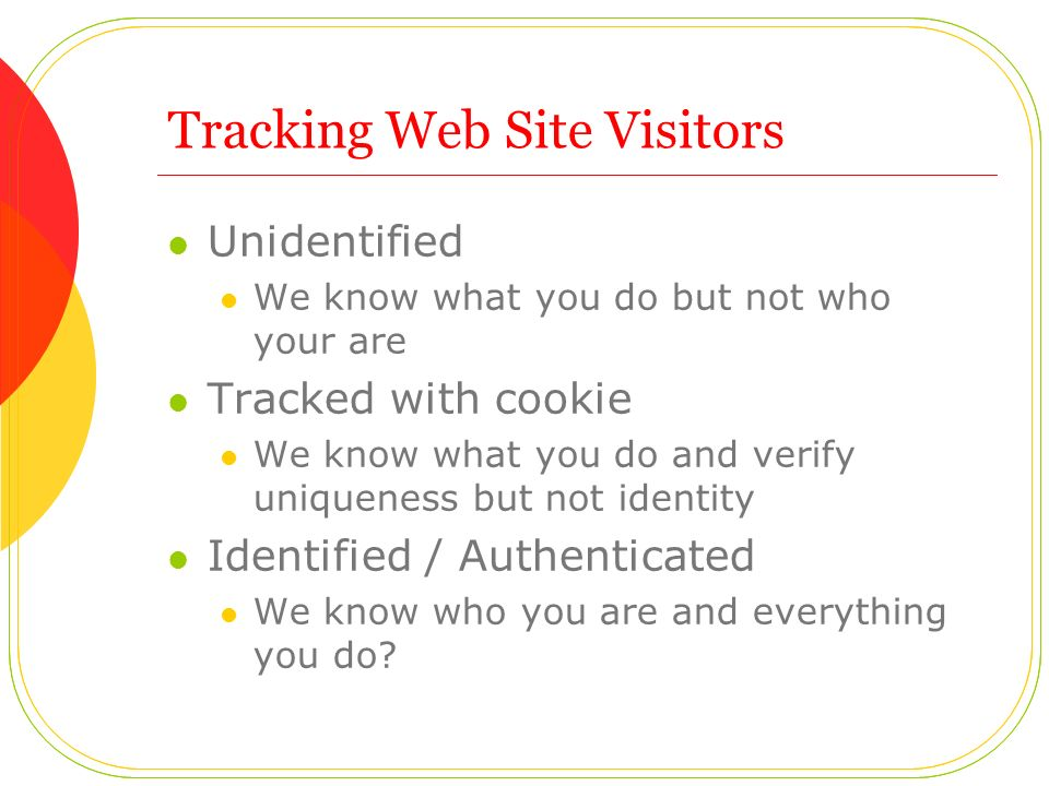 Tracking Web Site Visitors Unidentified We know what you do but not who your are Tracked with cookie We know what you do and verify uniqueness but not identity Identified / Authenticated We know who you are and everything you do?