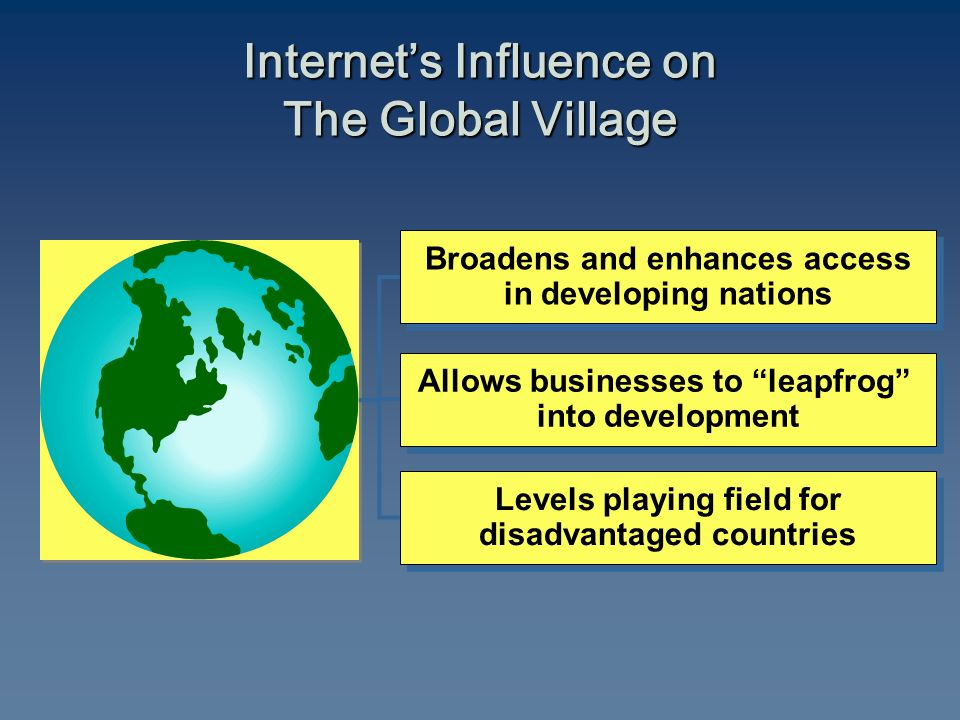 Internet's Influence on The Global Village Broadens and enhances access in developing nations Broadens and enhances access in developing nations Allows businesses to leapfrog into development Allows businesses to leapfrog into development Levels playing field for disadvantaged countries Levels playing field for disadvantaged countries