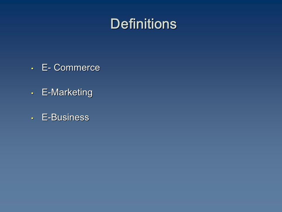 Definitions E- Commerce E- Commerce E-Marketing E-Marketing E-Business E-Business