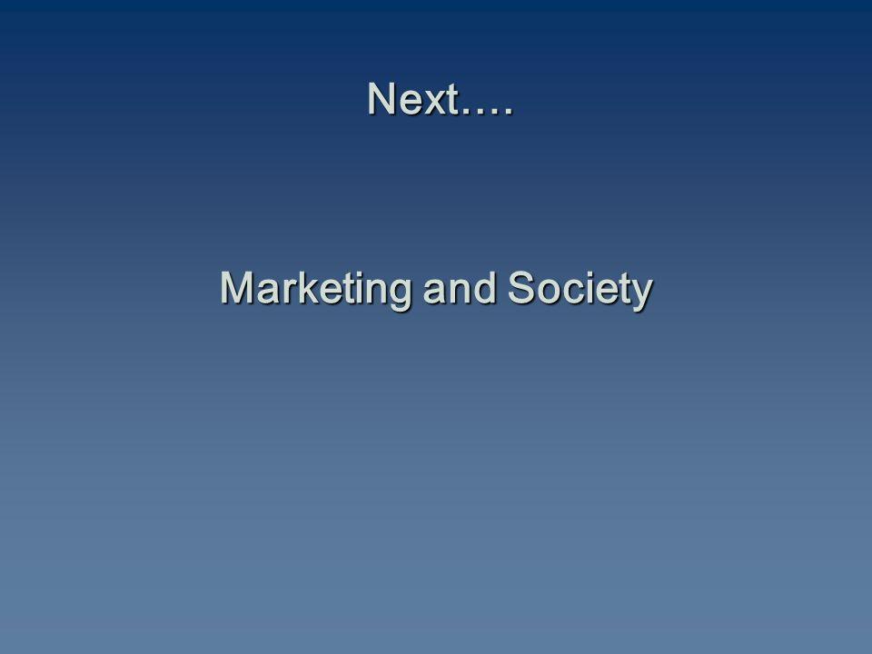 Next…. Marketing and Society