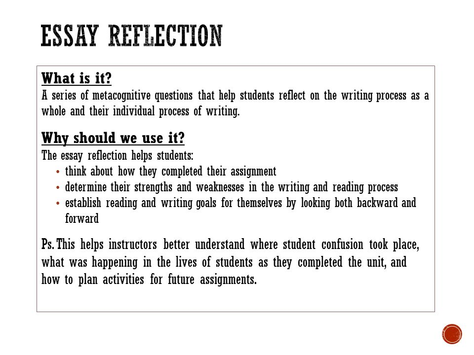 reflected writing and reflective essay Working on a reflective essay in a crunch for time buy reflective essays from ultius and have an american writer complete it in as little as just a few hours.
