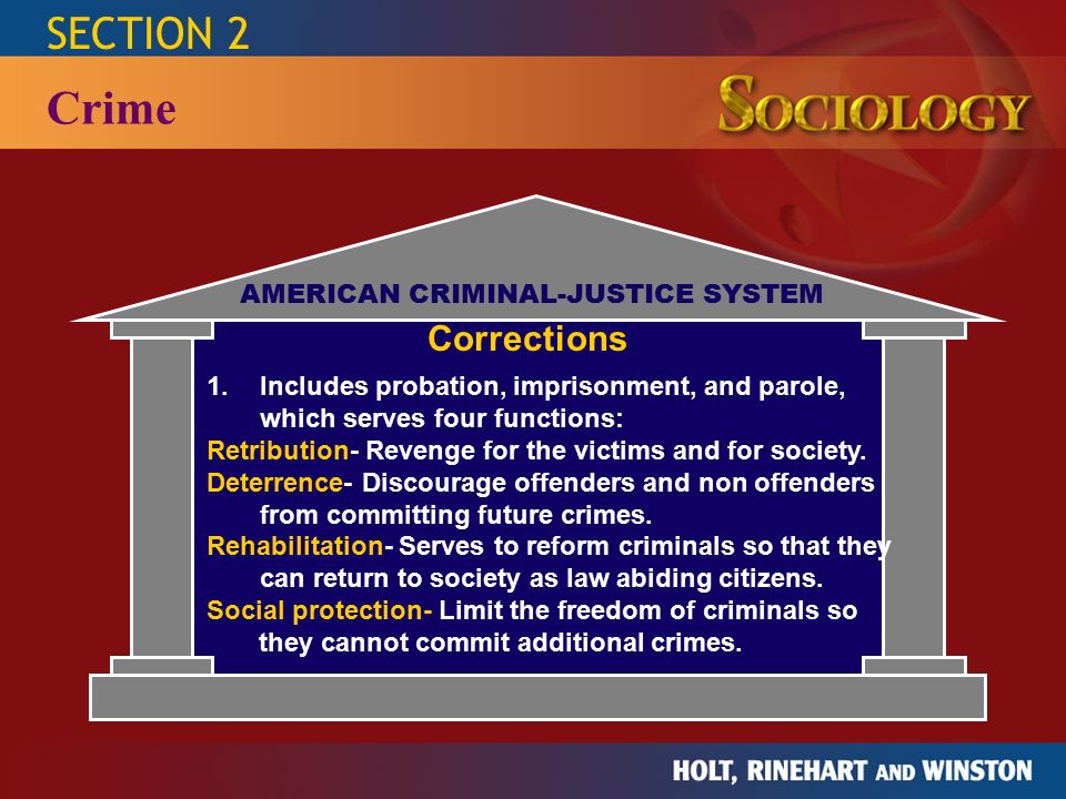 THE STUDY OF HUMAN RELATIONSHIPS SOCIOLOGY HOLT, RINEHART AND WINSTON 15 SECTION 2 Crime AMERICAN CRIMINAL-JUSTICE SYSTEM Juvenile-Justice System 1.Applies to offenders younger than 18.