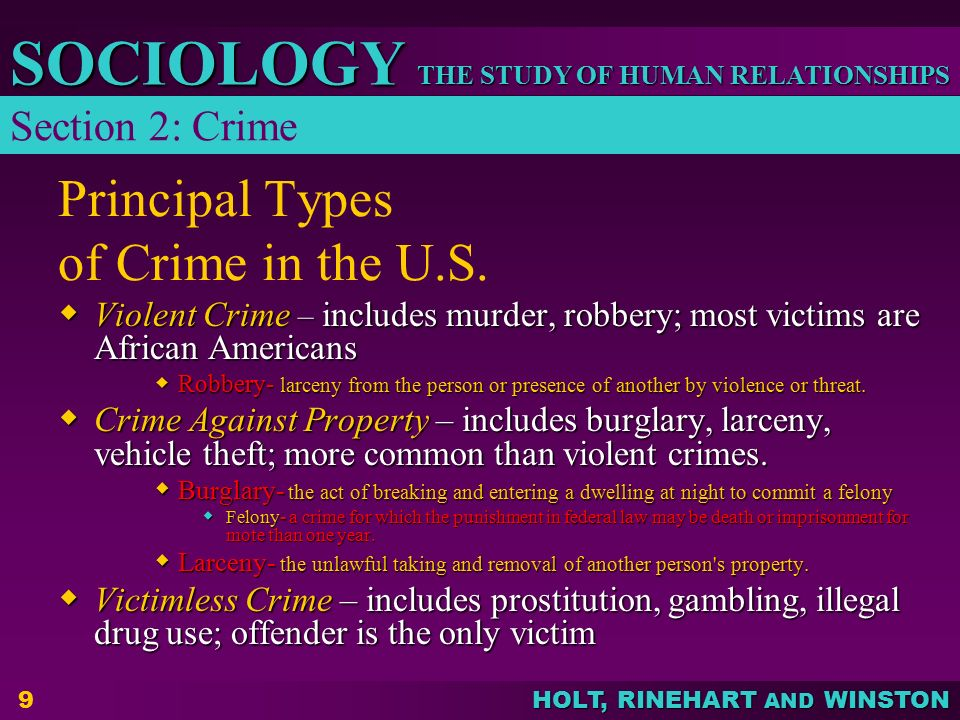 THE STUDY OF HUMAN RELATIONSHIPS SOCIOLOGY HOLT, RINEHART AND WINSTON 10 Principal Types of Crime in the U.S.