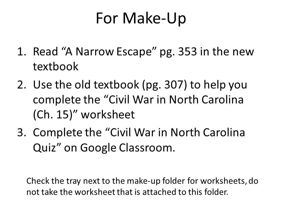 Tuesday CNN student news 2Read A Narrow Escape pg Civil War – Civil War Worksheets