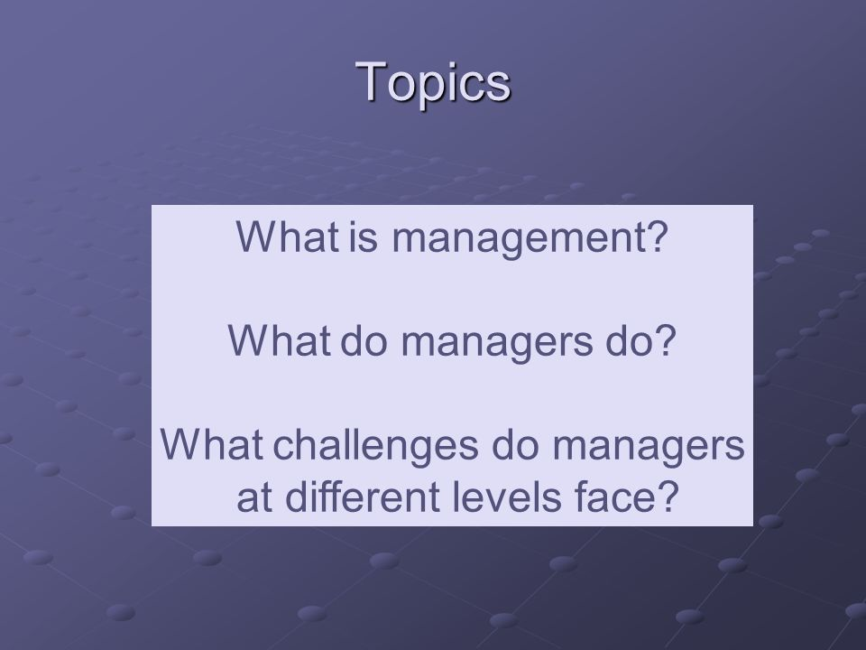 Topics What is management. What do managers do.