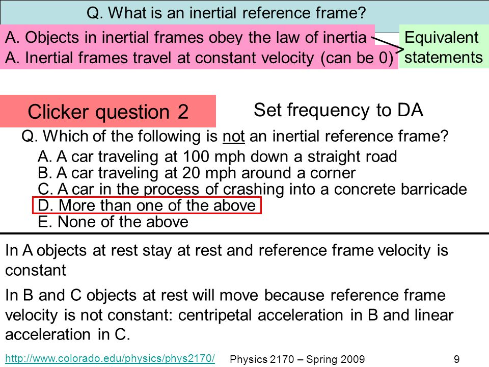 Amazing Which Of The Following Is An Inertial Reference Frame ...