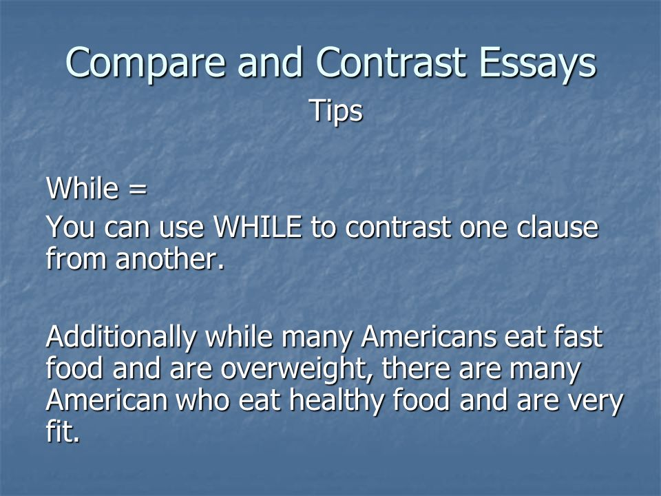 How to write a hook for compare and contrast essay about two country food?