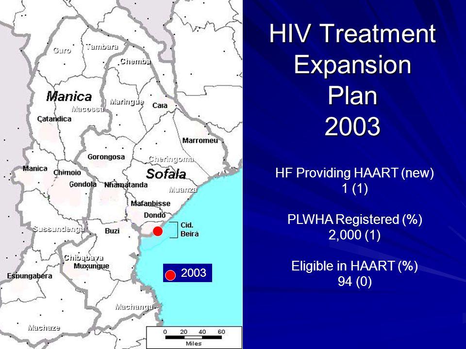 Guro Tambara Chemba Maringue Macossa Sussundenga Machaze Machanga Muanza Cheringoma Chibabava HF Providing HAART (new) 1 (1) PLWHA Registered (%) 2,000 (1) Eligible in HAART (%) 94 (0) HIV Treatment Expansion Plan 2003 2003