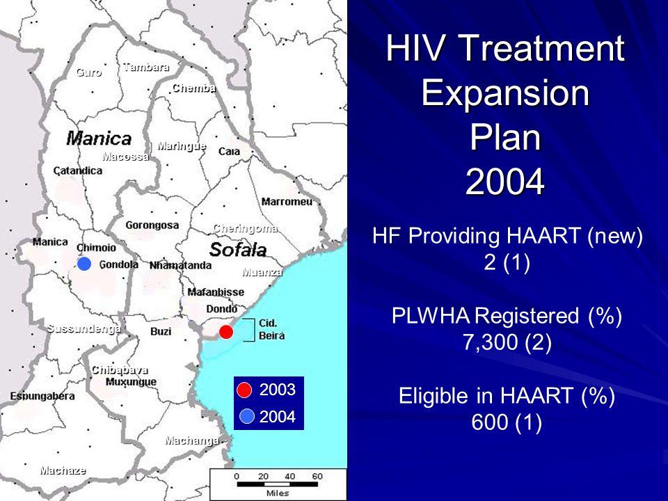 Guro Tambara Chemba Maringue Macossa Sussundenga Machaze Machanga Muanza Cheringoma Chibabava HF Providing HAART (new) 2 (1) PLWHA Registered (%) 7,300 (2) Eligible in HAART (%) 600 (1) HIV Treatment Expansion Plan 2004 2003 2004
