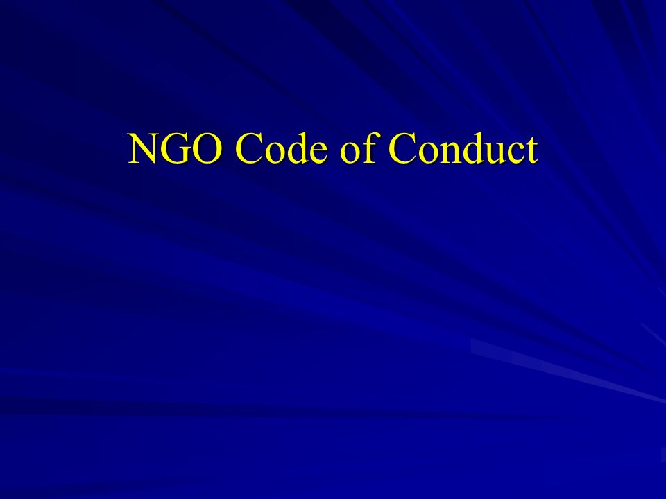 NGO Code of Conduct