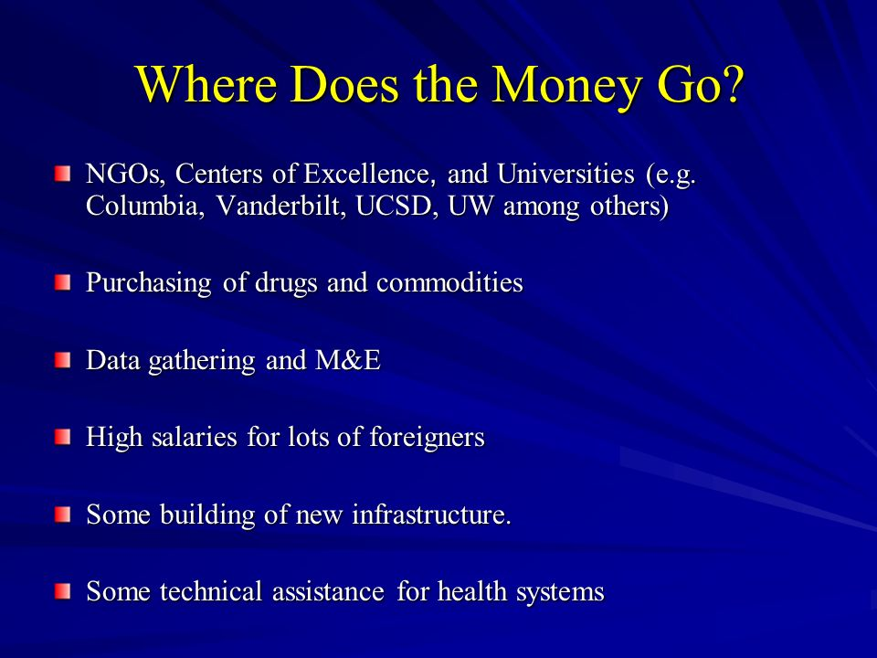 Where Does the Money Go. NGOs, Centers of Excellence, and Universities (e.g.