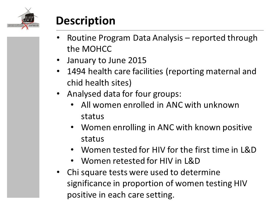 Description Routine Program Data Analysis – reported through the MOHCC January to June 2015 1494 health care facilities (reporting maternal and chid health sites) Analysed data for four groups: All women enrolled in ANC with unknown status Women enrolling in ANC with known positive status Women tested for HIV for the first time in L&D Women retested for HIV in L&D Chi square tests were used to determine significance in proportion of women testing HIV positive in each care setting.