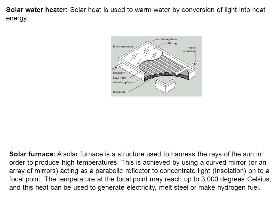 Solar water heater: Solar heat is used to warm water by conversion of light into heat energy.