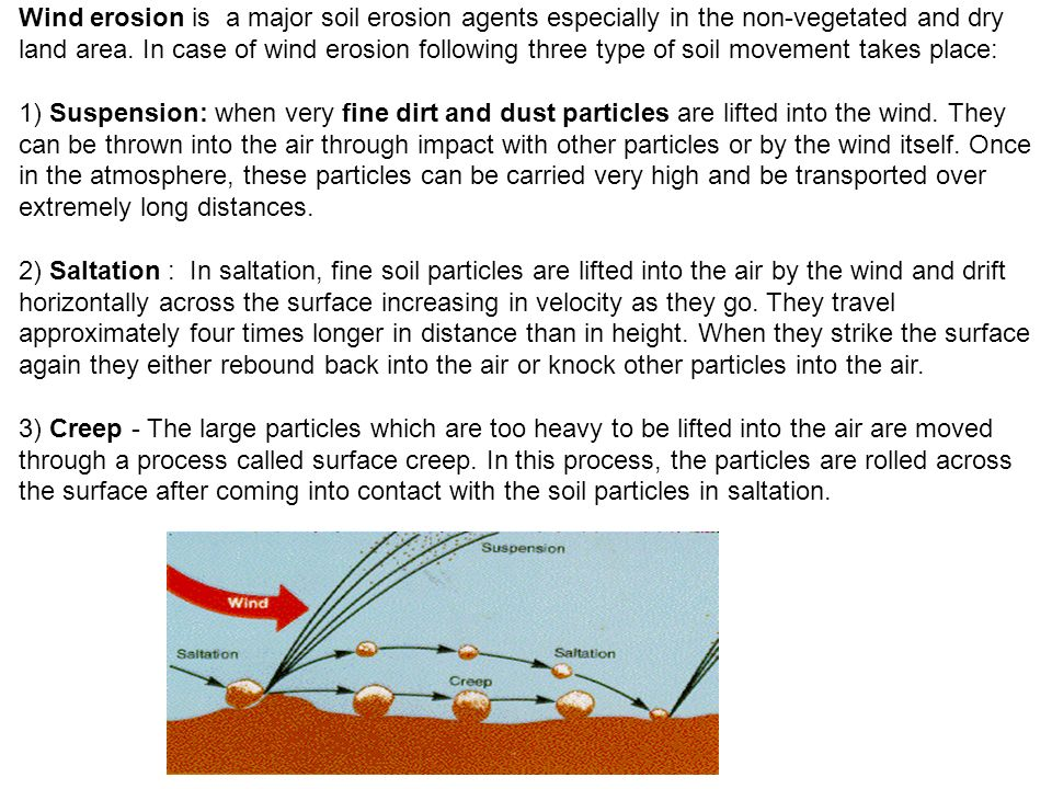 Wind erosion is a major soil erosion agents especially in the non-vegetated and dry land area.