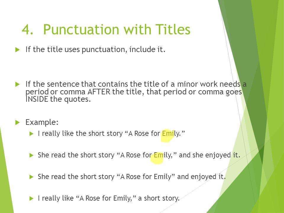 punctuate title of essay
