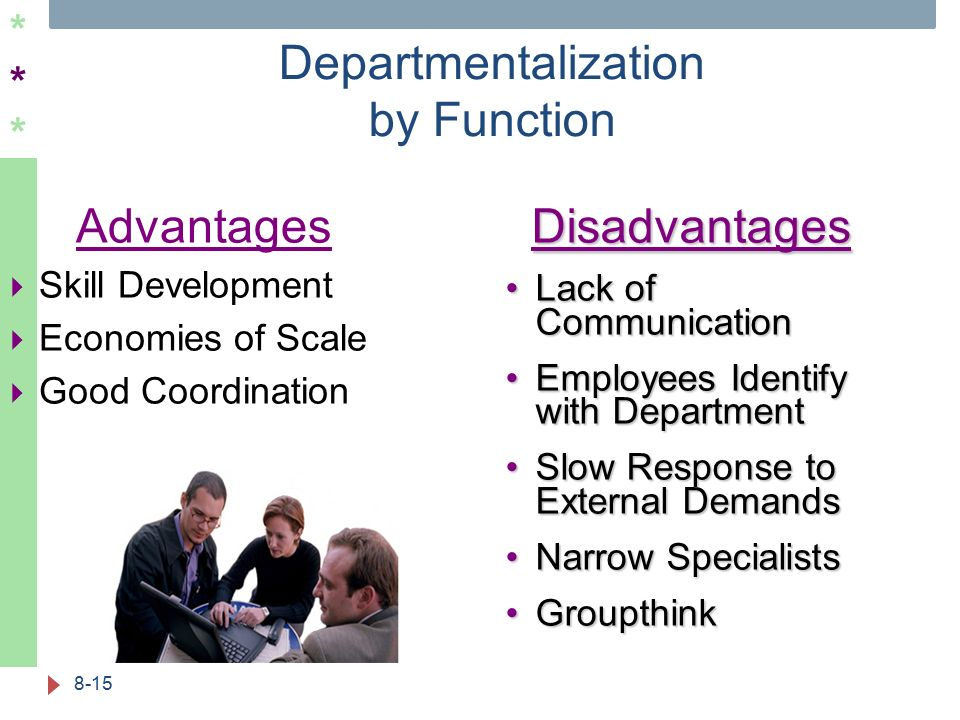 ****** Departmentalization by Function 8-15 Advantages  Skill Development  Economies of Scale  Good CoordinationDisadvantages Lack of Communication