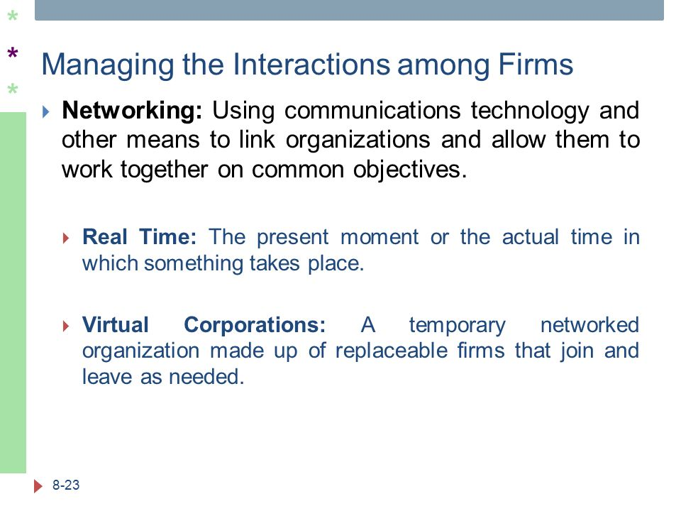 ****** Managing the Interactions among Firms  Networking: Using communications technology and other means to link organizations and allow them to wor