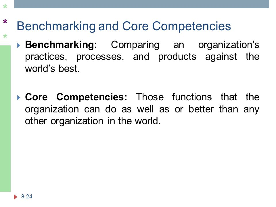 ****** Benchmarking and Core Competencies  Benchmarking: Comparing an organization's practices, processes, and products against the world's best.