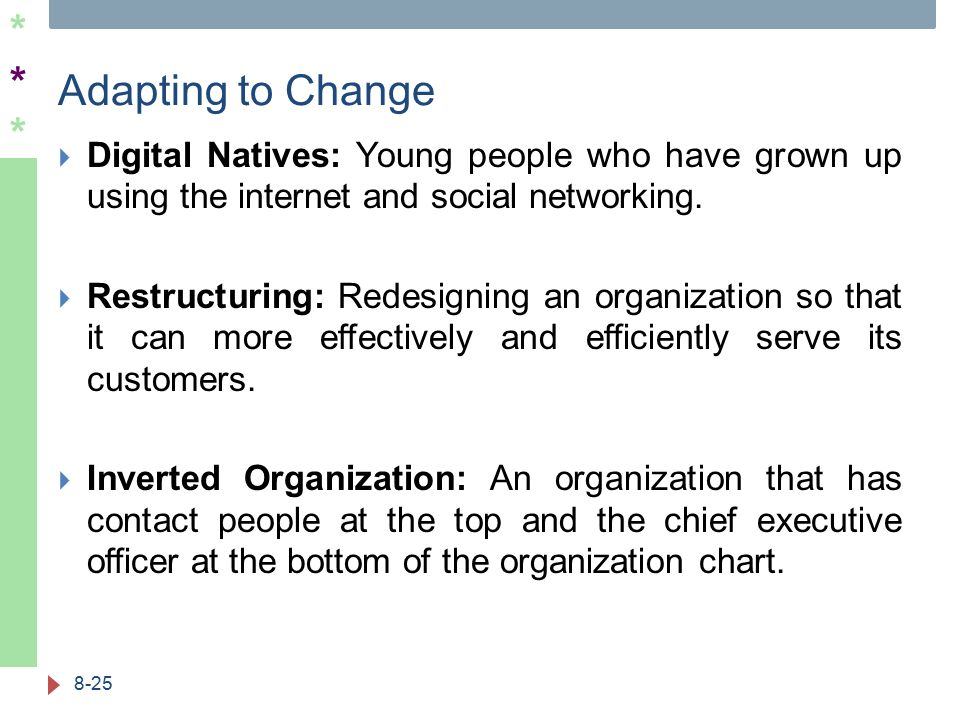 ****** Adapting to Change  Digital Natives: Young people who have grown up using the internet and social networking.  Restructuring: Redesigning an