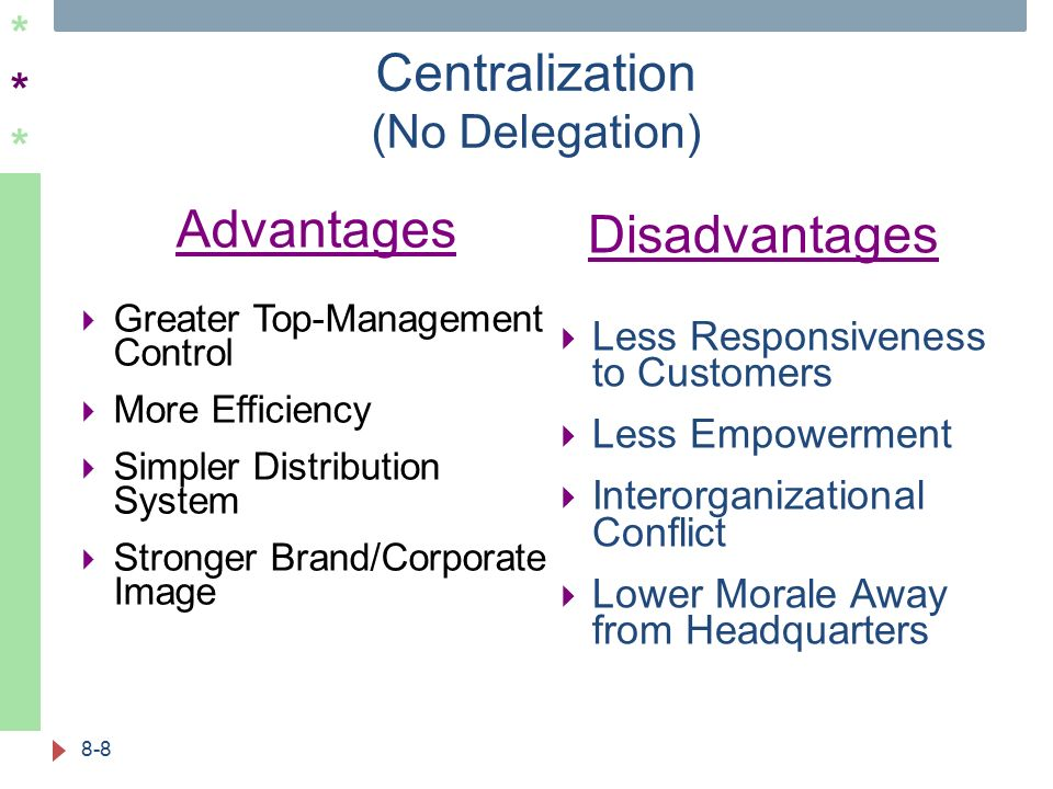****** Centralization (No Delegation) 8-8 Advantages  Greater Top-Management Control  More Efficiency  Simpler Distribution System  Stronger Brand