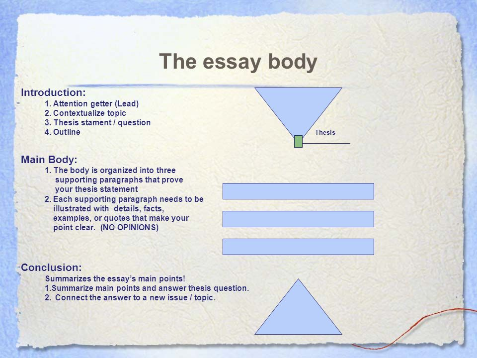 The essay body Introduction: 1. Attention getter (Lead) 2 ...