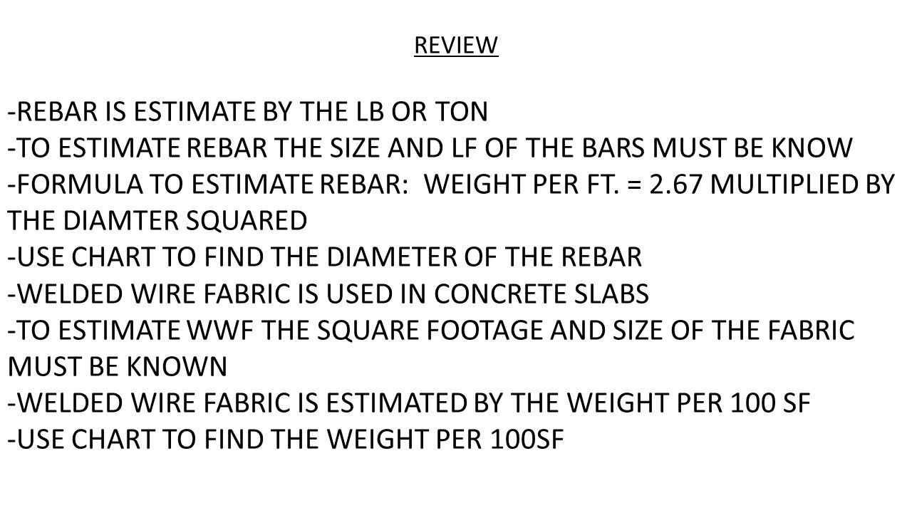 Estimating steel for concrete pours rebar estimated by the pound review rebar is estimate by the lb or ton to estimate rebar the size geenschuldenfo Choice Image