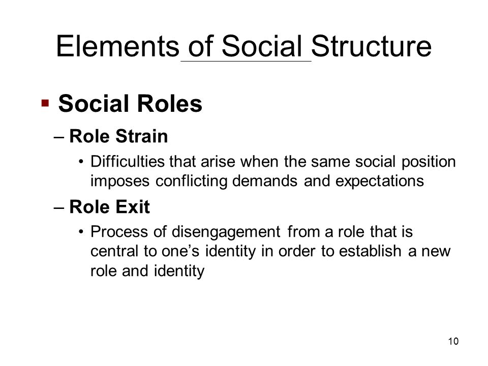 10 –Role Strain Difficulties that arise when the same social position imposes conflicting demands and expectations –Role Exit Process of disengagement from a role that is central to one's identity in order to establish a new role and identity  Social Roles Elements of Social Structure
