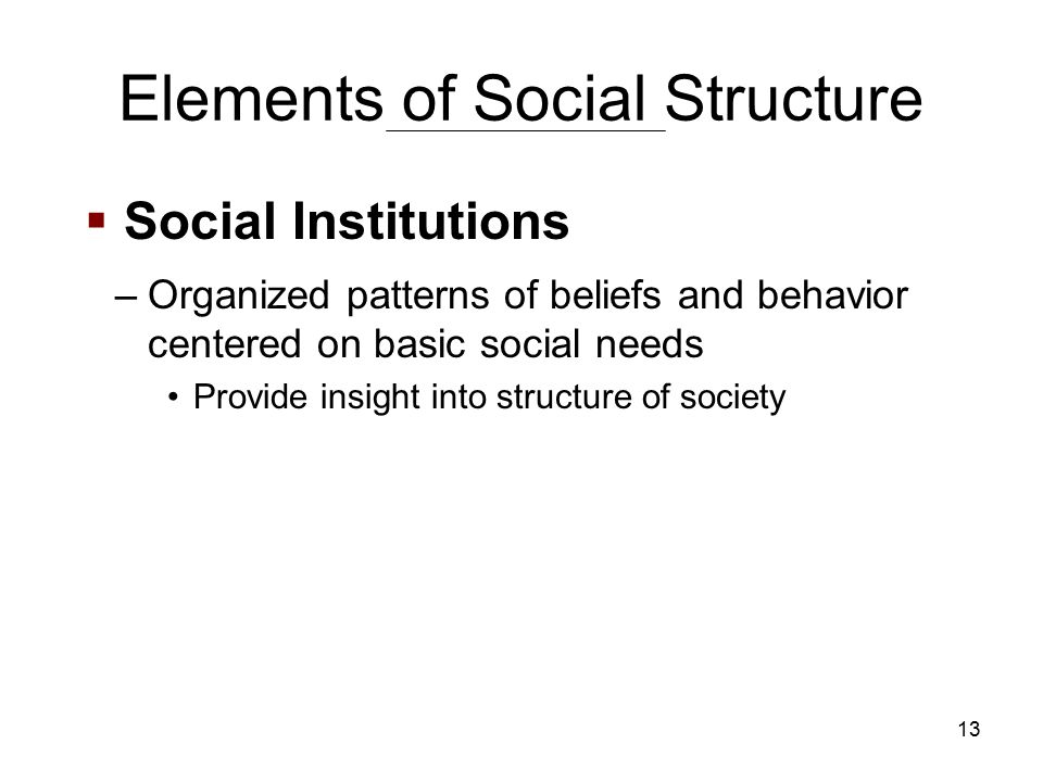 13 Elements of Social Structure –Organized patterns of beliefs and behavior centered on basic social needs Provide insight into structure of society  Social Institutions