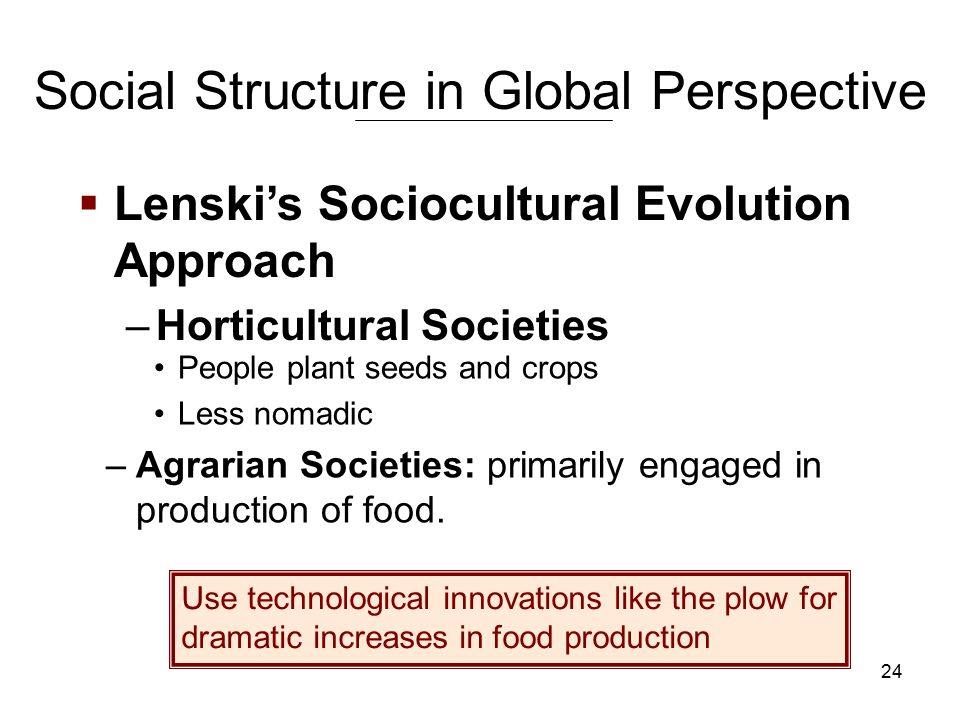 24 Social Structure in Global Perspective People plant seeds and crops Less nomadic –Agrarian Societies: primarily engaged in production of food.
