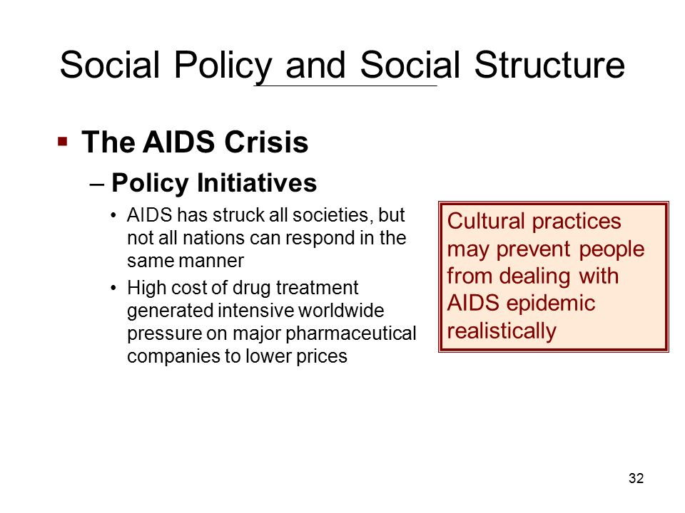 32 Social Policy and Social Structure AIDS has struck all societies, but not all nations can respond in the same manner High cost of drug treatment generated intensive worldwide pressure on major pharmaceutical companies to lower prices Cultural practices may prevent people from dealing with AIDS epidemic realistically  The AIDS Crisis –Policy Initiatives
