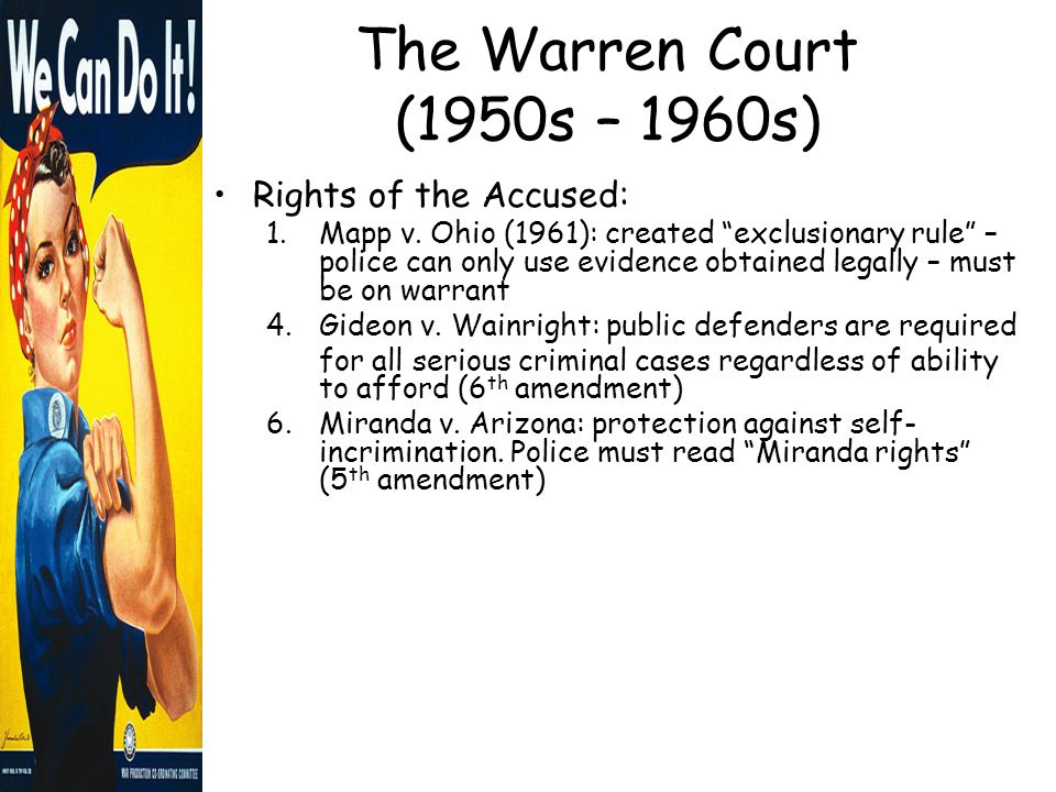 the warren court essay This is a partial chronological list of cases decided by the united states supreme court during warren court, the tenure of chief justice earl warren from october 5.