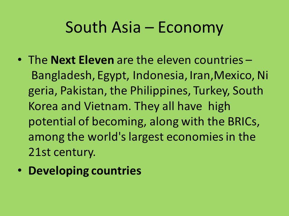 South Asia – Economy The Next Eleven are the eleven countries – Bangladesh, Egypt, Indonesia, Iran,Mexico, Ni geria, Pakistan, the Philippines, Turkey, South Korea and Vietnam.