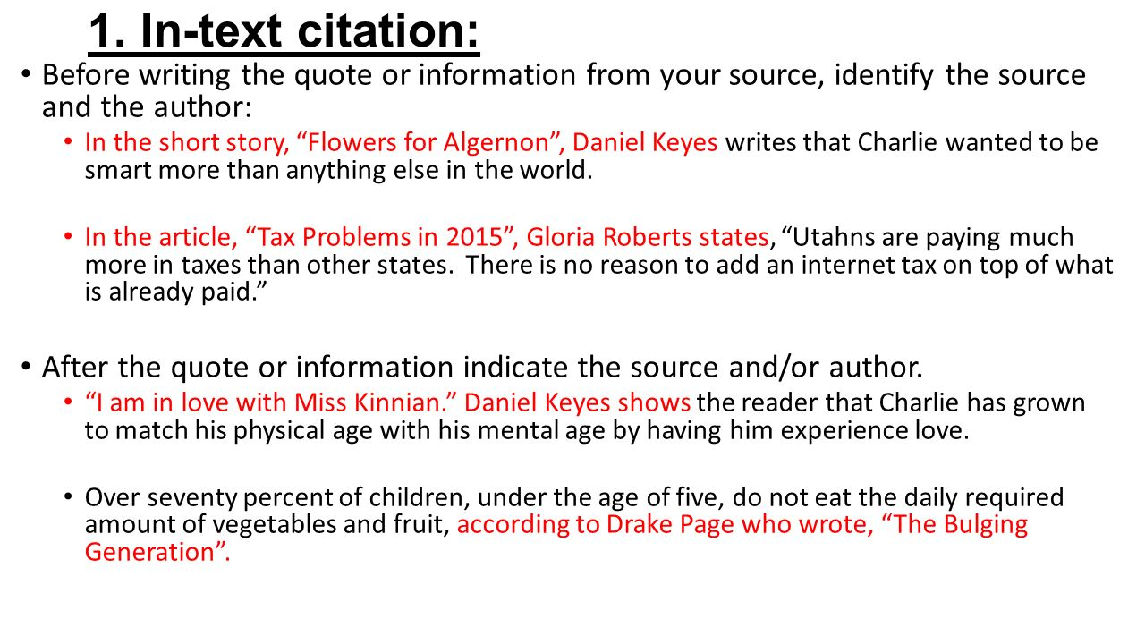 citing sources two ways to cite sources in your essay ppt   cite sources in your essay 2 1
