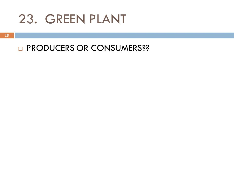 23. GREEN PLANT 18  PRODUCERS OR CONSUMERS