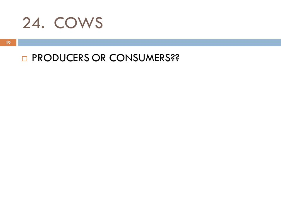 24. COWS 19  PRODUCERS OR CONSUMERS