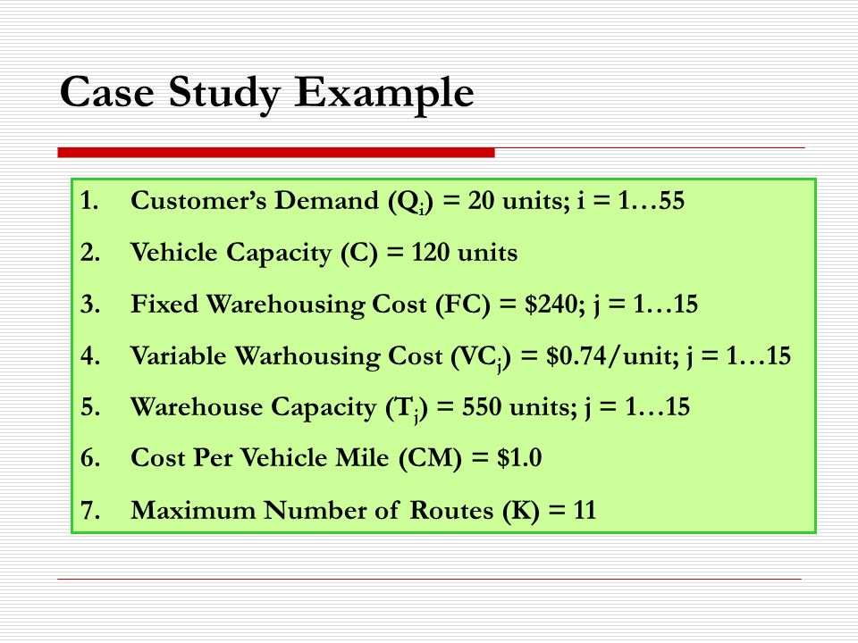 Case Study Example 1.Customer's Demand (Q i ) = 20 units; i = 1…55 2.Vehicle Capacity (C) = 120 units 3.Fixed Warehousing Cost (FC) = $240; j = 1…15 4.Variable Warhousing Cost (VC j ) = $0.74/unit; j = 1…15 5.Warehouse Capacity (T j ) = 550 units; j = 1…15 6.Cost Per Vehicle Mile (CM) = $1.0 7.Maximum Number of Routes (K) = 11
