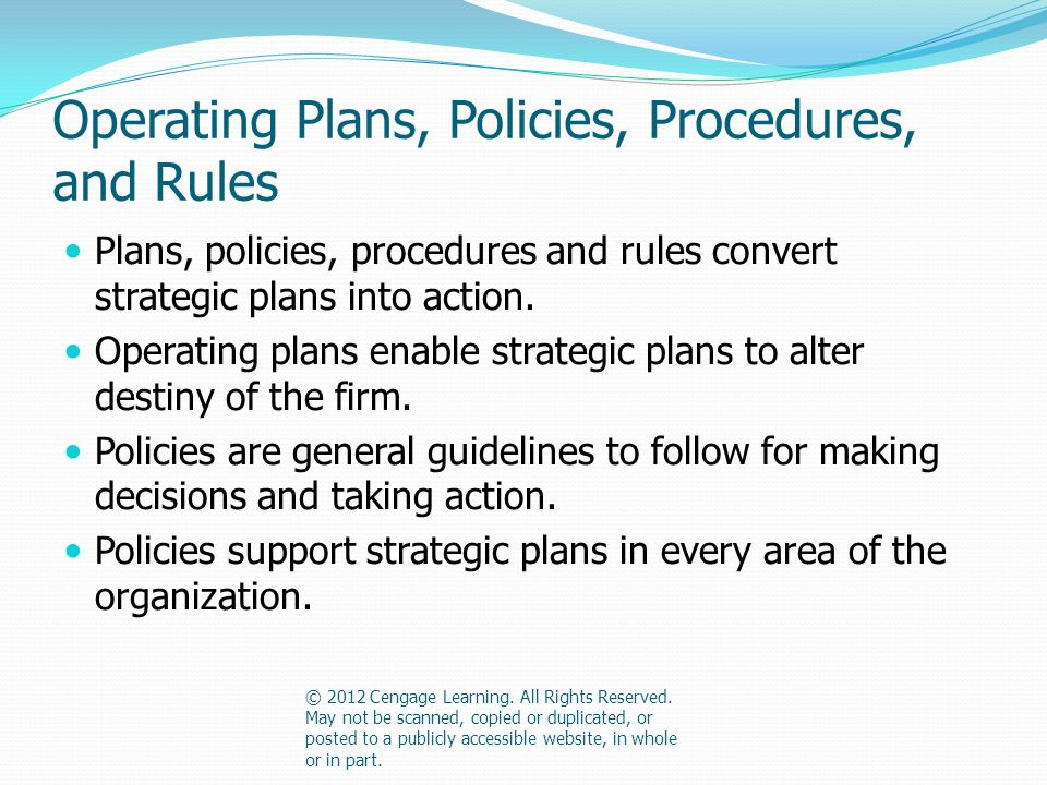 Operating Plans, Policies, Procedures, and Rules Plans, policies, procedures and rules convert strategic plans into action.