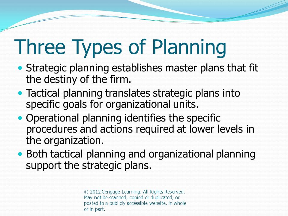 Three Types of Planning Strategic planning establishes master plans that fit the destiny of the firm.
