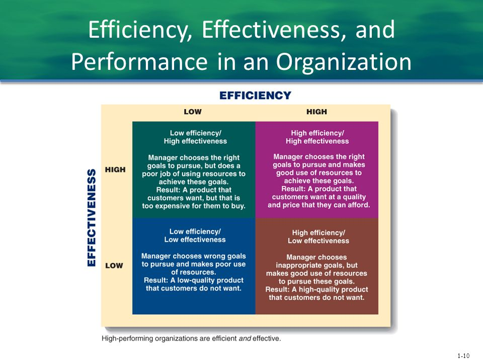 1-10 Efficiency, Effectiveness, and Performance in an Organization