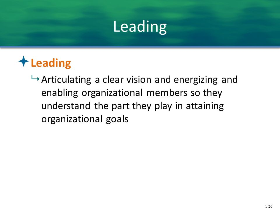 1-20 Leading  Leading  Articulating a clear vision and energizing and enabling organizational members so they understand the part they play in attaining organizational goals