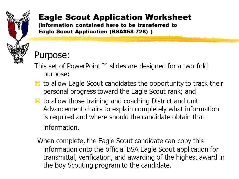 eagle application essay Eagle application requirement #7 attachment ambitions and life purpose statement it is suggested that this form be discussed during the scoutmaster conference, signed and dated.