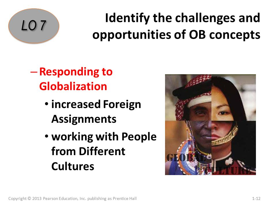 Identify the challenges and opportunities of OB concepts – Responding to Globalization increased Foreign Assignments working with People from Different Cultures Copyright © 2013 Pearson Education, Inc.