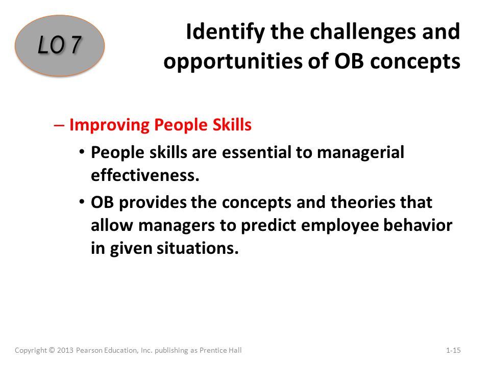 Identify the challenges and opportunities of OB concepts – Improving People Skills People skills are essential to managerial effectiveness.