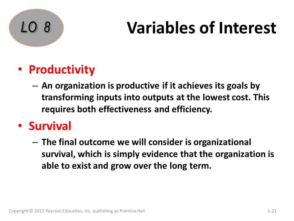 Variables of Interest Productivity – An organization is productive if it achieves its goals by transforming inputs into outputs at the lowest cost.
